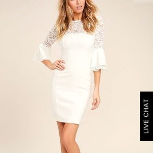 Uncontested Beauty White Lace Bodycon Dress